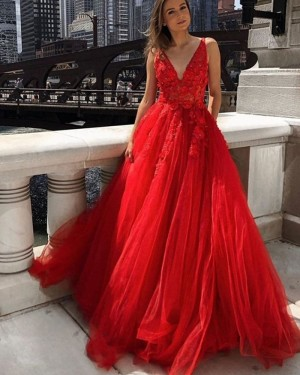 Red Lace Applique Tulle V-neck Prom Dress PM1975