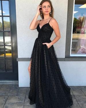 Black Spaghetti Straps Polka Dot Net Side Slit Prom Dress with Pockets PM1989