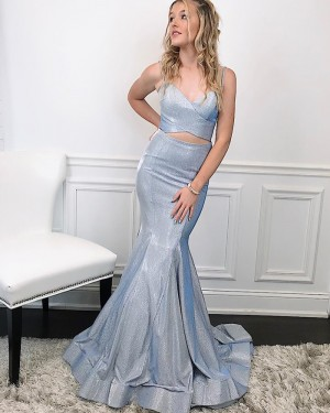 Two Piece Spaghetti Straps Silver Metal Mermaid Prom Dress PM1991