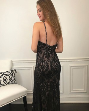 Lace Black Jewel Neckline Mermaid Prom Dress with Side Slit PM1992