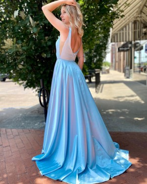 V-neck Light Blue Satin Simple Prom Dress with Side Slit PM1994