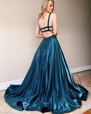 Teal Green Satin Square Satin Simple Prom Dress PM1995
