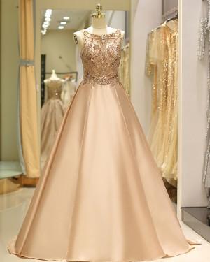 Elegant Jewel Beading Bodice Satin Evening Gown QD029