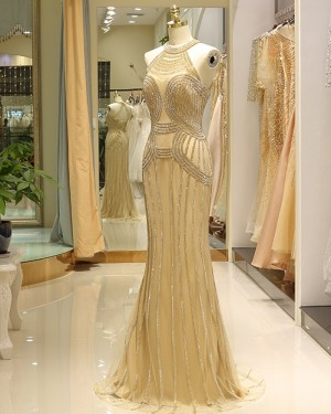 Beading Mermaid Tulle High Neck Gold Evening Dress QD030