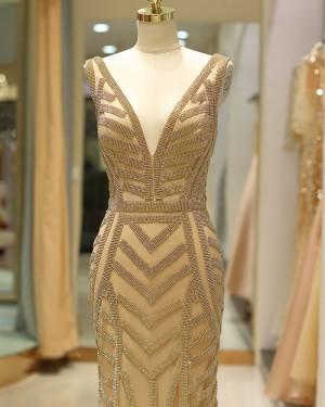 Gold Mermaid Tulle Deep V-neck Beading Evening Dress QD031