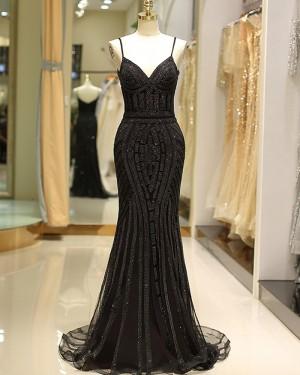 Spaghetti Straps Black Beading Mermaid Style Evening Dress QD032