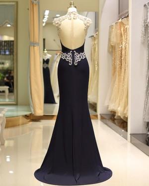 Mermaid Navy Blue High Neck Lace Beading Satin Evening Dress  QD033
