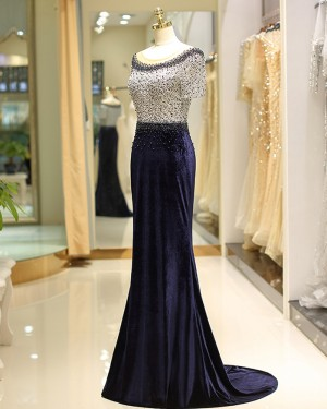 Navy Blue Mermaid Satin Jewel Beading Lace Evening Dress with Short Sleeves QD034