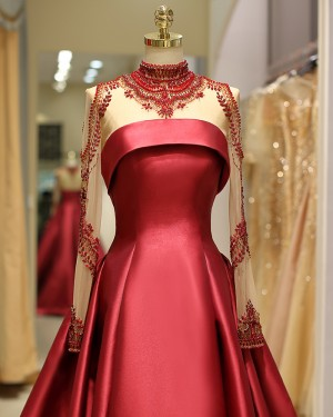 High Neck Long Sleeve Beading Bodice Satin Red Pleated Evening Gown QD036