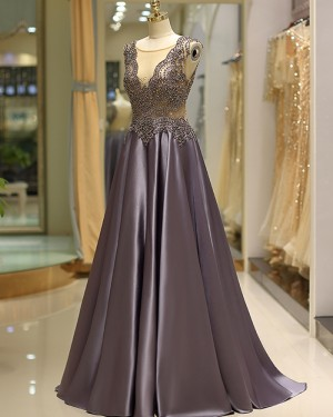 Elegant Pleated Satin Jewel Beading Bodice Evening Dress QD037