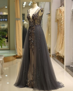 Gorgeous Beading Deep V-neck Evening Dress with Grey Tulle Skirt QD038