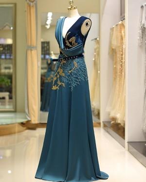 Amazing Beading Satin V-neck Gold and Green Evening Dress QD039