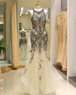 Elegant Jewel Gold Tulle Beading Mermaid Evening Dress QD041