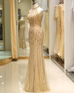 Amazing Beading High Neck Gold Mermaid Style Evening Dress QD043