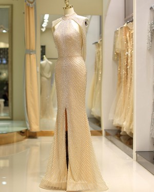 Amazing High Neck Beading Gold Tulle Evening Dress with Front Slit QD044