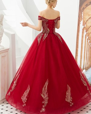Elegant Red Embroidery Beading Off the Shoulder Evening Dress QD049