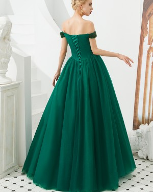 Pleated Off the Shoulder Beading Bodice Evening Gown QD050