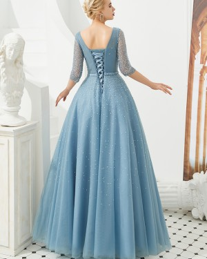 Dusty Blue V-neck Beading Tulle Evening Dress with Half Length Sleeves QD051