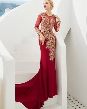 Jewel Long Sleeve Beading Satin Mermaid Red Evening Dress QD052