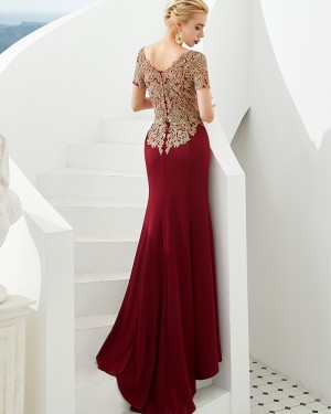Beading Applique Bateau Burgundy Mermaid Evening Dress with Short Sleeves QD054