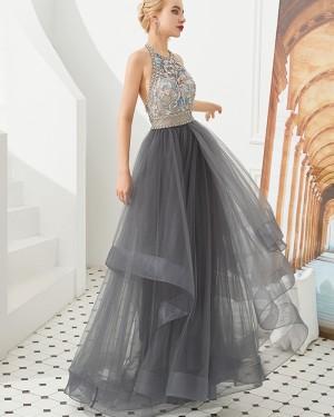 Amazing Halter Beading Flowers Ruffle Grey Tulle Evening Dress QD055