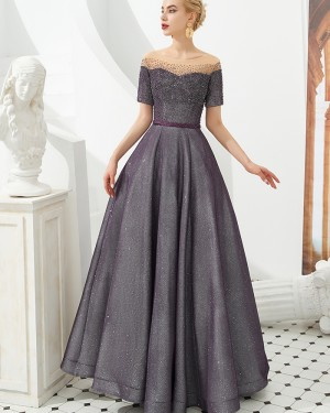 Sparkle Beading Black Off the Shoulder A-line Evening Dress with Short Sleeves QD056