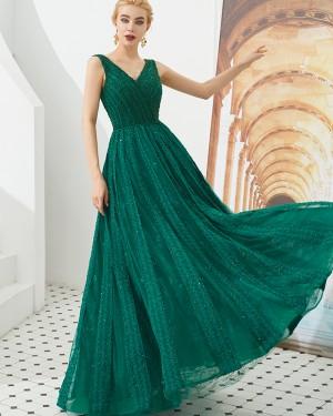 Amazing V-neck Green Beading A-line Evening Dress QD057