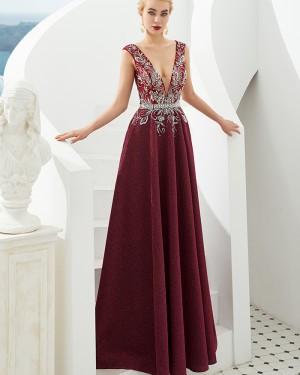 Dark Red Sparkle Deep V-neck Beading Bodice Evening Dress QD059