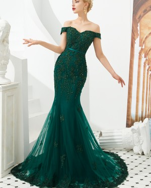 Green Beading Off the Shoulder Applique Mermaid Evening Dress QD060