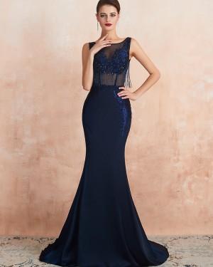 Navy Blue Jewel Neck Beading Mermaid Evening Dress QD061