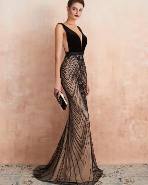 Gorgeous Black V-neck Sequin Lace Mermaid Evening Dress QD062