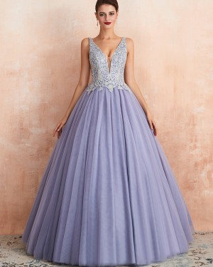 V-neck Lavender Beading Lace Bodice Pleated Evening Gown QD063