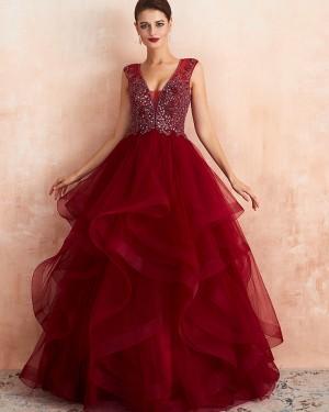 Gorgeous V-neck Ruffled Princess Beading Bodice Evening Dress QD065
