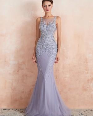Elegant Light Purple Jewel Neck Beading Mermaid Tulle Evening Dress QD066