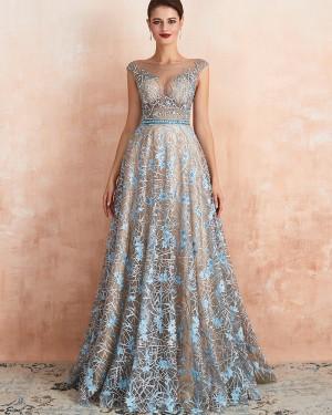 Gorgeous Lace A-line Jewel Neck Sequin Evening Dress QD067