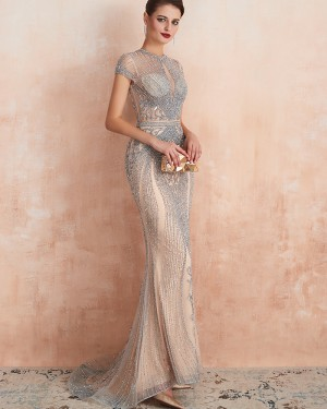 Gorgeous Champagne High Neck Beading Mermaid Evening Dress with Short Sleeves QD068