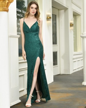 Green Sequin Spaghetti Straps Formal Dress with Side Slit QD070
