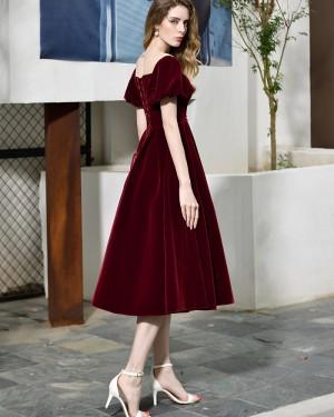 Velvet Knee Length Deep V-neck Burgundy Formal Dress with Short Sleeves QD072
