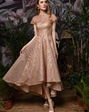 Rose Gold High Low High Neck Sparkle Evening Dress with Short Sleeves QD073