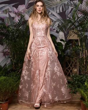 Gorgeous Pink Lace Spaghetti Straps Evening Dress QD074