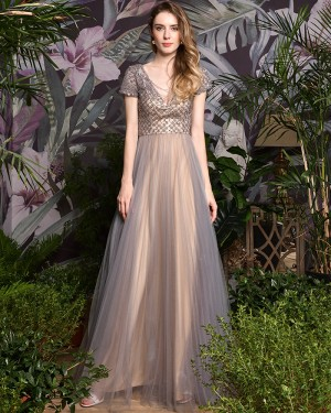 V-neck Champagne Tulle Beading Bodice Evening Dress with Short Sleeves QD075