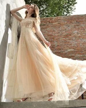 Champagne Beading Jewel Elegant A-line Evening Dress QD076