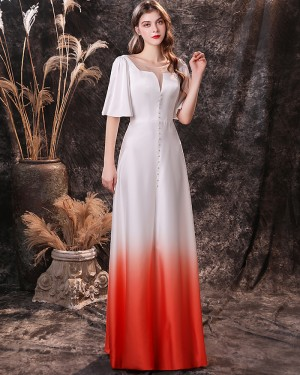 Beading Ombre Square Neckline Chiffon Evening Dress with Short Sleeves QD18454
