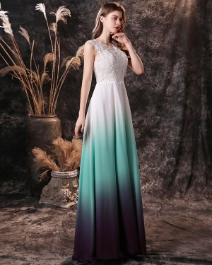 Lace Bodice Scoop Ombre Chiffon Prom Dress QD19457