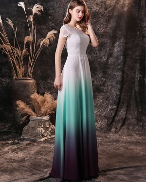 Ombre Lace Bodice Bateau Neckline Chiffon Prom Dress with Short Sleeves QD19458
