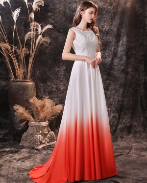 Ombre Lace Bodice Jewel Neckline Pleated Satin Prom Dress QD24451