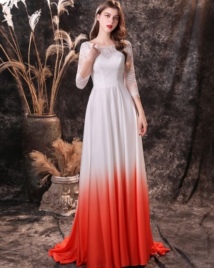 Lace Applique Jewel Neckline Prom Dress with 3/4 Length Sleeves QD24453