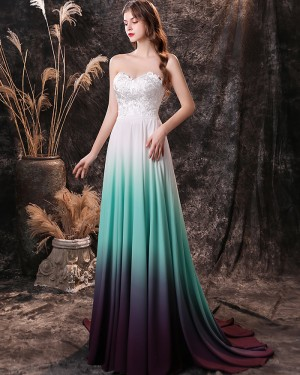 Lace Bodice Sweetheart Ombre Chiffon Prom Dress QD26459