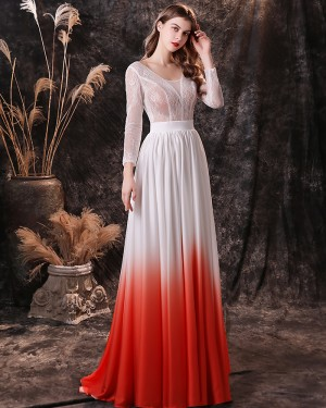 Lace Bodice Ombre Scoop Evening Dress with Long Sleeves QD27455