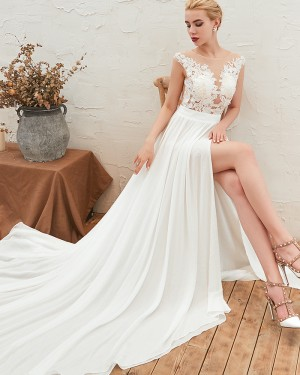 Jewel Pleated Lace Appliqued Bodice Wedding Dress with Side Slit QDWD001